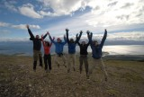 Jumping photo in front of Beagle Channel
