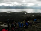 Over the tree line, expo­sed to the elements we got a sample of Patagonian weather