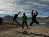 Jumping photo on Laguna Miscanti